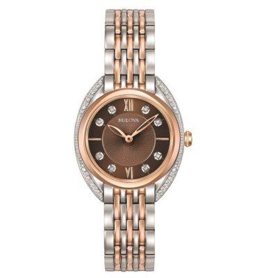 Ρολόι Γυναικείο Bulova Curved 98R230 Diamonds με δίχρωμο μπρασελέ και καφέ  καντράν με μπριγιάν 6eced67603b