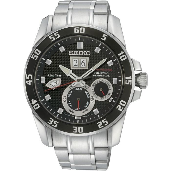 Ρολόι ανδρικό Seiko Sportura Kinetic Perpetual Calendar με μπασελέ και μαύρο  καντράν SNP055P1 9e798780925