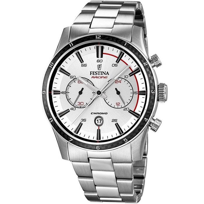 Ρολόι ανδρικό Festina Racing F16818-1 με μπρασελέ και ασημί καντράν aa71c93e6af