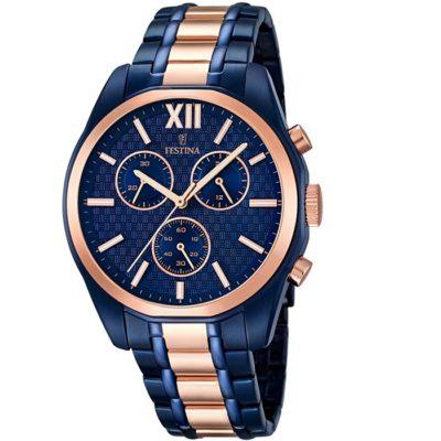 Ρολόι ανδρικό Festina με δίχρωμο μπρασελέ και μπλε καντράν F16857 1 6044c9105c0