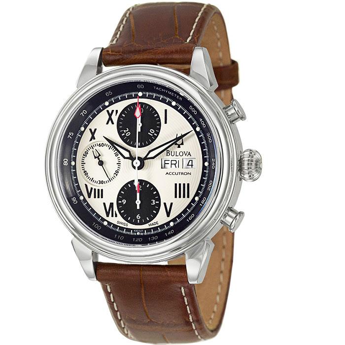 Ρολόι ανδρικό Bulova Accutron Gemini 63C010 Automatic Chronograph με δερμάτινο  λουρί και κρέμ καντράν 69a40c9eec0