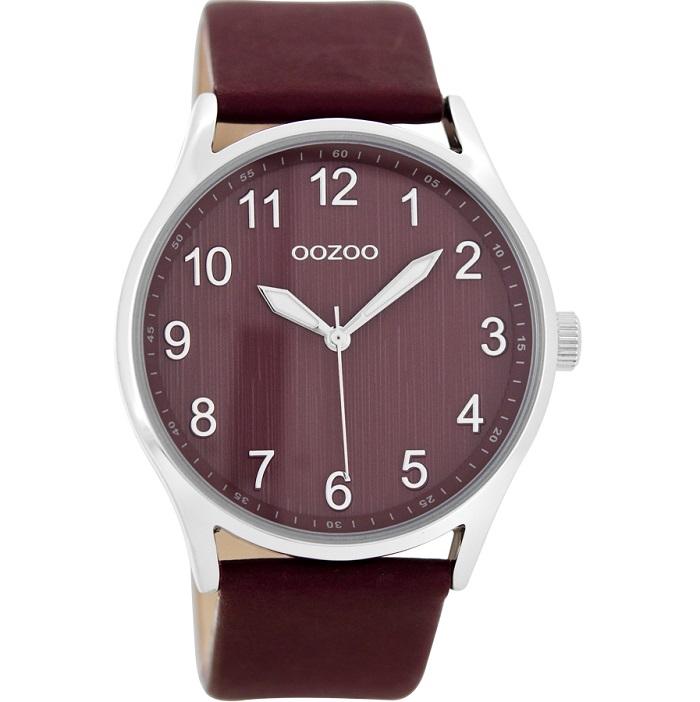 Ρολόι Unisex Oozoo Timepieces C8643 με δερμάτινο λουρί και μπορντό καντράν fd2b350295a