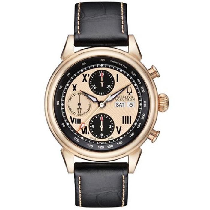 Ρολόι ανδρικό Bulova Gemini 64C100 Automatic Chronograph με δερμάτινο λουρί  και σομόν καντράν 92049631f3b