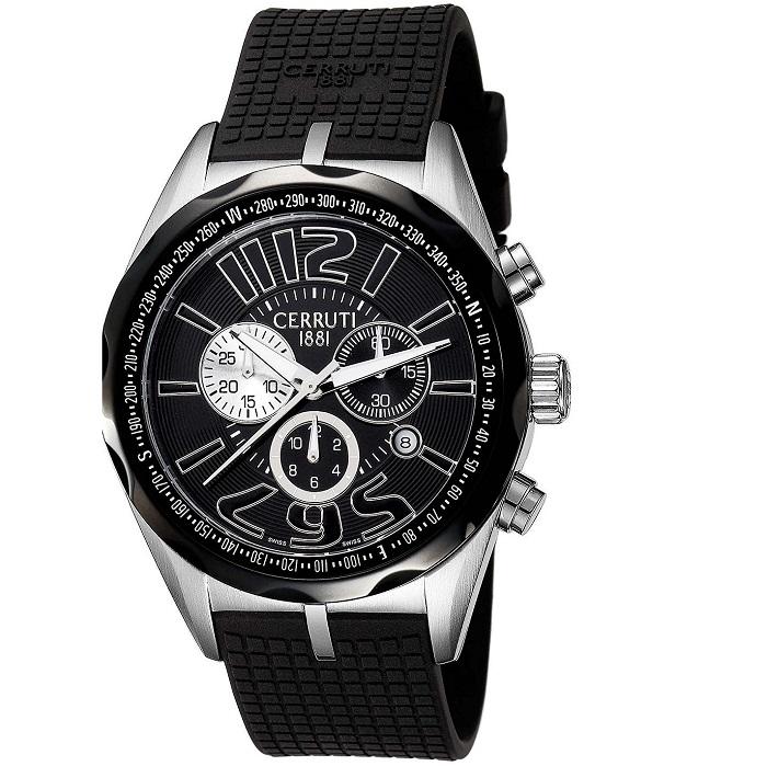 Ρολόι ανδρικό Cerruti CT100891S21 Chronograph με Rubber και μαύρο καντράν 2637447e48f