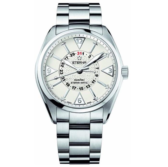 Ρολόι ανδρικό Eterna KonTiki 1592.41.11.0217 Automatic με μπρασελέ και μπεζ  καντράν ccc87d6b8af