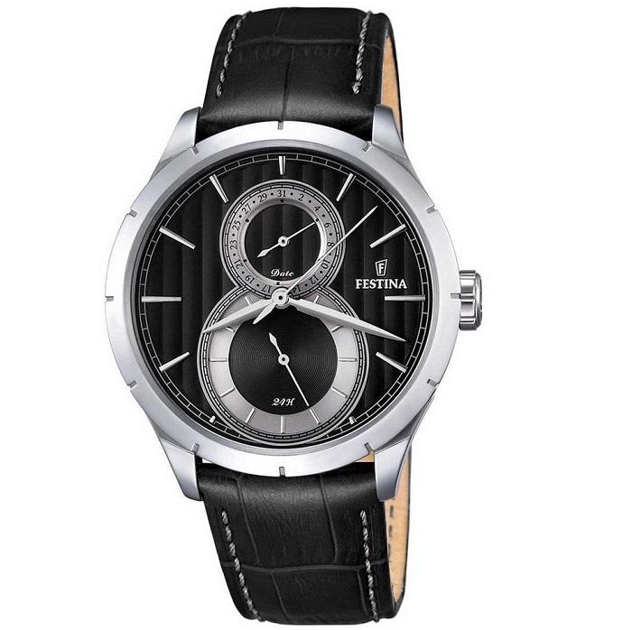 Ρολόι ανδρικό Festina Retro F16892-6 με δερμάτινο λουρί και μαύρο καντράν 02568624675