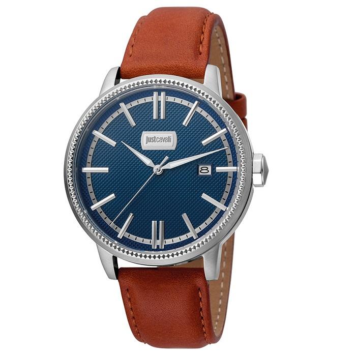 Ρολόι ανδρικό Just Cavalli JC1G018L0035 Relaxed με δερμάτινο λουρί και μπλε  σκούρο καντράν 1516114c328