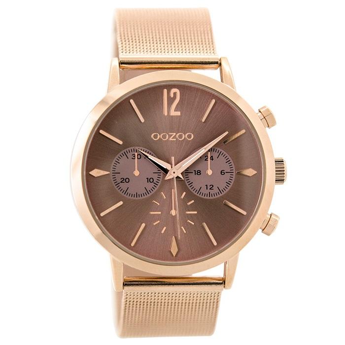 Ρολόι γυναικείο Oozoo Timepieces C9468 με μπρασελέ και ροζ χρυσό καφέ  καντράν 6565d69d687